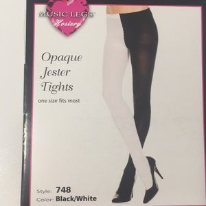 a033636ad Music Legs Accessories - NWT OS MUSIC LEGS Opaque Jester Tights Black White